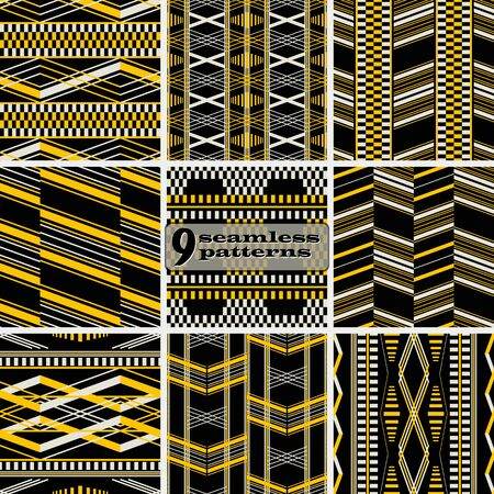 Set of seamless abstract geometric patterns. Retro fashion vector prints collection