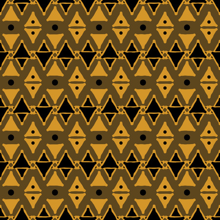 Seamless dark tribal pattern of triangular geometric elements and dots. Abstract ethnic vector ornament. Black, orange, brown colors Illustration