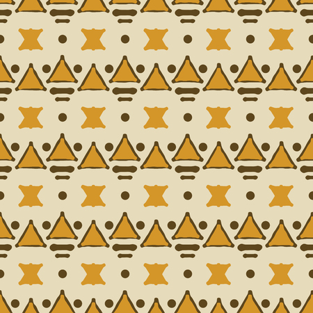 Seamless geometric tribal pattern. Orange and brown colors. Ethnic motifs Ilustração