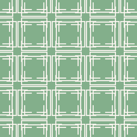 Seamless abstract geometric pattern of multiple lines forming complex lattice with square windows. Trendy mint green print Illustration