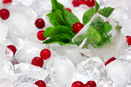 Frozen cowberry with fresh mint leaves on ice cubes, selective focus