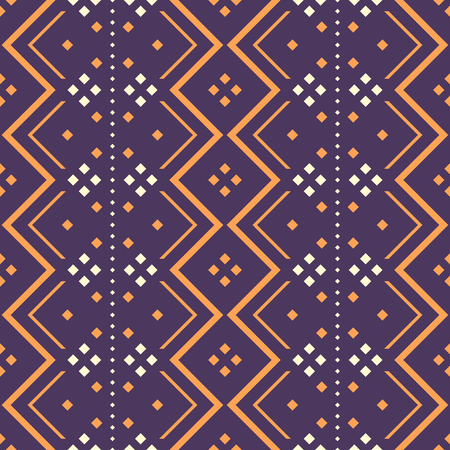 Seamless abstract pattern with zigzag elements and square dots. Folk style geometric ornament violet and orange colors