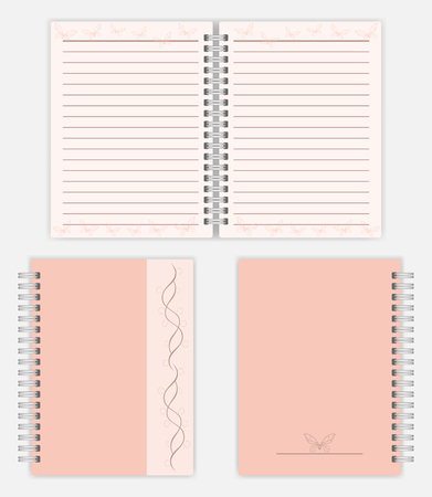 Women notebook design: spread, front and back cover. Spiral bound ladies notepad mockup. Silver metal spring diary with lined pages, vector mock-up