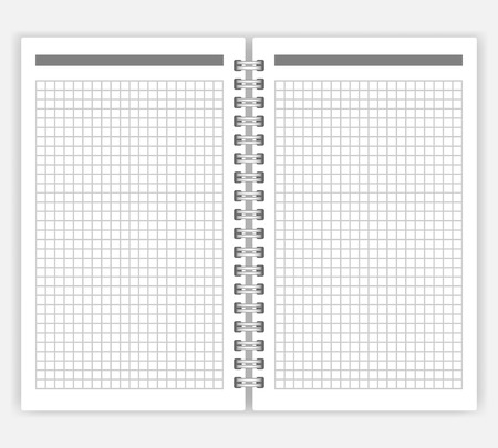 Open notebook with white squared pages, vector mock-up. Spiral bound loose-leaf notepad mockup. Wirebound diary