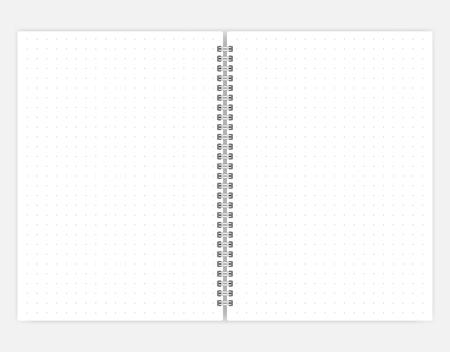 Open puntraster notebook vector mock-up. Spiraalgebonden notitieblok verspreid mockup. Dagboek in A6 formaat Vector Illustratie