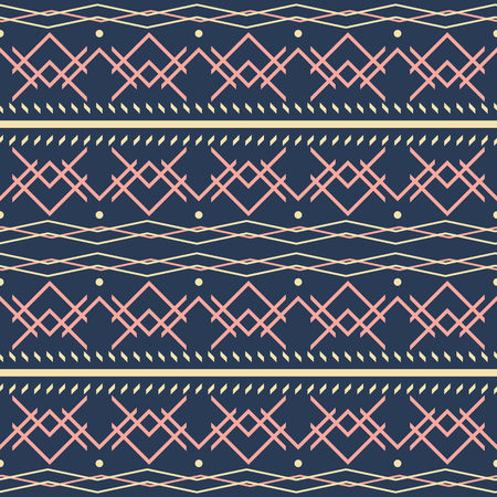 Seamless geometric vector pattern. Dark blue, yellow, pink colors Illusztráció