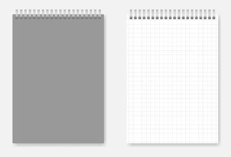 Grid-lined A6 size wirebound notebook design: page and grey cover. Spiral bound squared paper notepad mockup Foto de archivo - 104506895