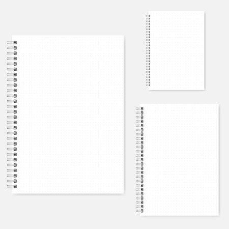 Set of dot grid notebook vector mock-ups. A4, A5, A6 size. Spiral bound notepads mockup. Wirebound diaries Vettoriali