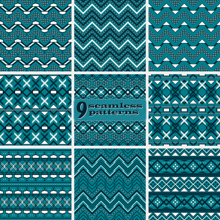 Set of seamless abstract geometric patterns with complex zigzag. Dark blue and white colors. Fashion vector backgrounds collection