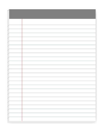 Almohadillas de escritura de formato de carta alineadas con margen, maqueta de vector. Maqueta de notas adhesivas. Cuaderno de papel rayado aislado sobre fondo blanco, plantilla