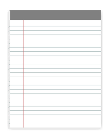 Lined letter format writing pads with margin, vector mock up. Sticky notes mockup. Ruled paper notebook isolated on white background, template