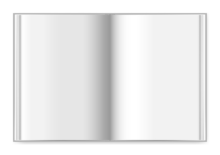 ハードカバーブックはトップビュー、ベクトルモックアップを広げます。空白のページで厚いノートブックを開く ベクターイラストレーション