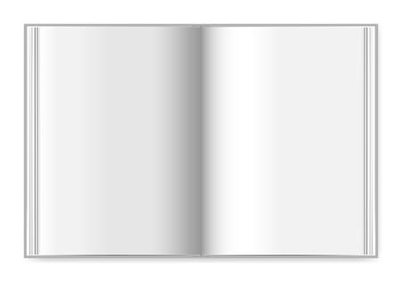 Livre à couverture rigide étalé vue de dessus, maquette vectorielle. Cahier épais ouvert avec des pages blanches Vecteurs