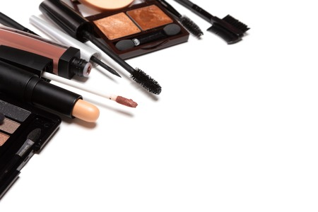 Beauty products for casual everyday make-up on white background.  Selective focus, copy space Archivio Fotografico