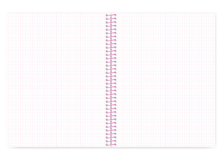 Open grid lined wire bound notebook with pink spiral, vector mock up. Loose leaf notepad spread isolated on white background, template