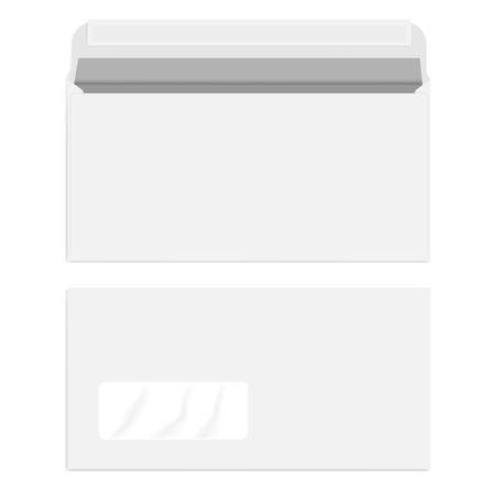 White left hand window self seal envelope, vector mock up