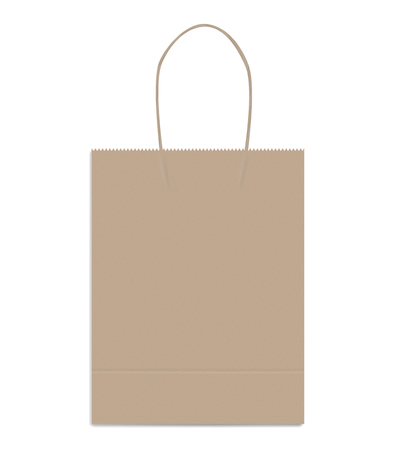 Shopping or merchandise bag with twisted rope handles, vector mock up. Brown kraft paper package with bottom gusset, template