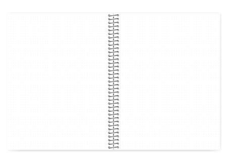 Open puntraster draadgebonden notitieboekje met metalen spiraal, realistische vector mock up. Losbladige briefformaat kladblok spread, sjabloon Vector Illustratie