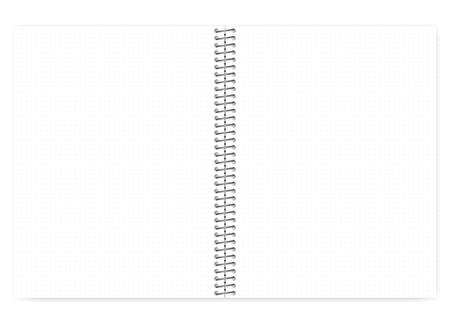 Open dot grid wire bound notebook with metal spiral, realistic vector mock up. Loose leaf letter format notepad spread, template
