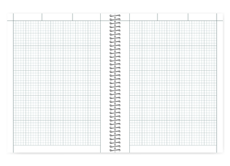 Open quad ruled cross section wire bound notebook with metal spiral, realistic vector mock up. Engineering computation notepad spread, template