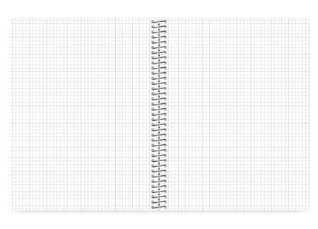 Open grid lined wire bound notebook with metal spiral, vector mock up. Loose leaf notepad spread isolated on white background, template