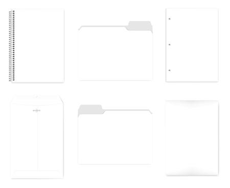 Cahier relié en fil de fer, chemises avec onglet coupé, papier de remplissage perforé pour classeur à 3 anneaux, enveloppe avec fermoir réutilisable, maquette de vecteur réaliste Ensemble de papeterie au format A4, modèle Vecteurs