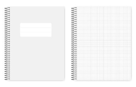 Cahier doublé de grille de fil, maquette de vecteur réaliste. Cahier à reliure spirale en métal, maquette. Cahier de format lettre à feuilles mobiles, modèle