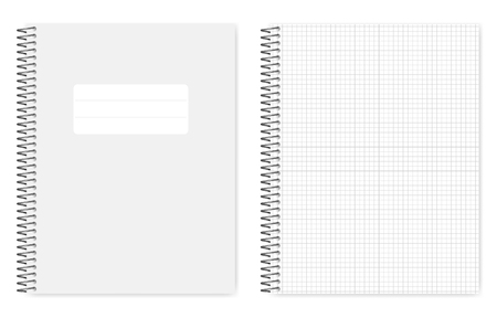 Draadgebonden raster bekleed notitieboekje, realistische vector mockup. Metalen spiraalbindend notitieboek, mock-up. Losbladige letter-formaat voorbeeldenboek, sjabloon