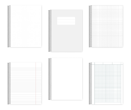 Set of wire bound notebooks, vector mock up. Metal spiral binding note books, mock up. Loose leaf letter format copybooks, template