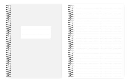 Cuaderno de línea discontinua de dos columnas con hojas de perforaciones laterales, maqueta de vector realista. Bloc de notas de tamaño A4 encuadernado con alambre, maqueta. Cuaderno de hojas sueltas, plantilla Ilustración de vector
