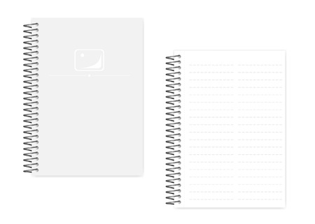 Two column dashed line spiral notebook with side perforation sheets, realistic vector mockup. Wire bound A5 size notepad, mock up. Loose leaf note book, template
