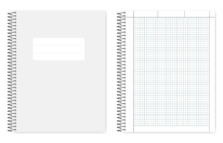 Wire bound quad ruled cross section notebook, realistic vector mockup. Metal spiral binding note book, mock up. Loose leaf letter format copybook, template Illustration