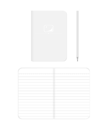 Lined softcover notebook: spread and front cover, realistic vector mockup. B7 size notepad with pencil, mock up. Paperback note book, template  イラスト・ベクター素材