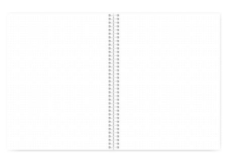Drahtgebundenes Notizbuch mit offenem Punktgitter und Metallspirale, realistisches Vektormodell. Drahtgebundenes Notizbuch verbreitet, Modell. Notizblock in loser Blattbuchstabengröße, Vorlage