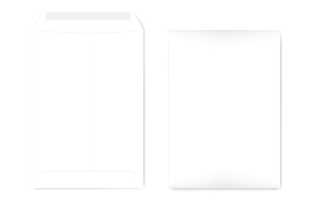 A4 catalog envelope with self adhesive seal, mock up. Empty document case isolated on white background, vector template