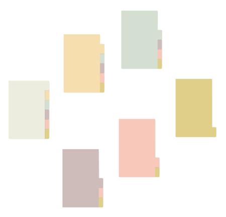 Fogli colorati con taccuino divisori per schede, mockup vettoriale realistico. Blocco note appiccicoso con modello di segnalibri laterali variegato. Blocco note autoadesive, mock up Vettoriali