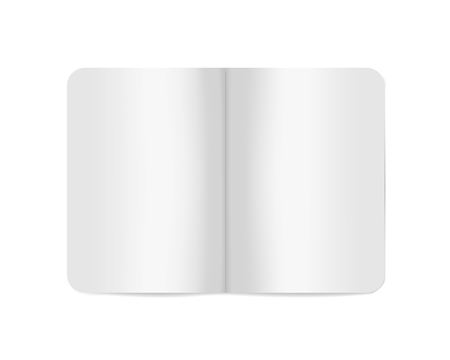 Open white blank softcover notebook or brochure, vector mockup. Paperback notepad spread, template Фото со стока - 127699910