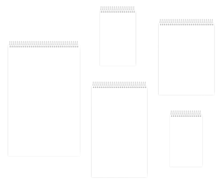 Top spiral empty white notebook set, vector mockup. Wire bound blank notepad, template. Letter, half letter, legal, junior legal, ledger / tabloid sizes Фото со стока - 127699911