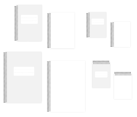 Blank wire bound notebook with tear off sheets, vector mockup set. A4, A5, A6 size. Empty spiral notepads: clear white page and cover, template