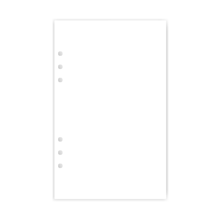 Hole punched white filler paper sheet, vector mockup. Junior legal size blank writing pad for ring binder, template