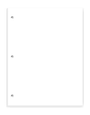 White blank hole punched paper block for 3 ring binder, vector mock up. Empty clear letter format writing pad template Illustration