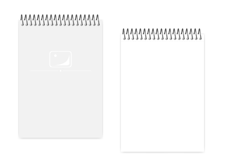 Empty blank top spiral notebook, realistic vector mock up. Wire bound A5 notepad: clear white page and cover, template