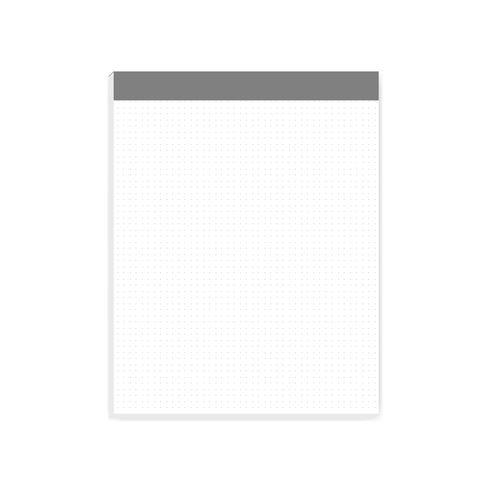 White dot grid note paper block, realistic vector mock-up. Letter size writing pad with tear off sheets, mockup