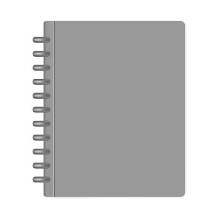 Gesloten notitieboekje in letterformaat, mock-up. Grijze schijf gebonden notitieboekmap geïsoleerd op een witte achtergrond, mockup