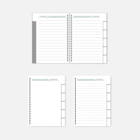 Refillable spiral notebook with tab dividers and filler paper. Mockup for corporate identity design
