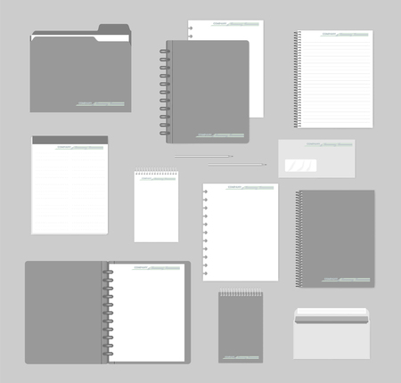 Stationery mockup set for corporate identity design. Notebooks, paper, folder, envelope. Mock-up