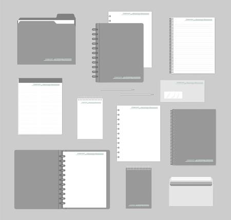 Stationery mockup set for corporate identity design. Notebooks, paper, folder, envelope. Mock-up