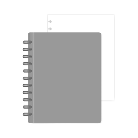 Cahier à reliure à disque rechargeable de format lettre fermée avec feuille de papier de remplissage blanc, maquette. Journal intime discbound gris, maquette