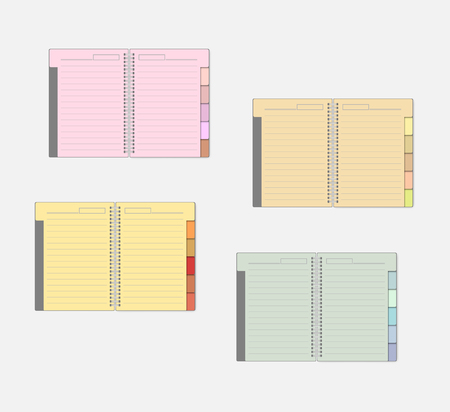 Open spiral notebook with color pages and tab dividers, mockup set. Wire bound multicolored lined note books with bookmarks, mock-up