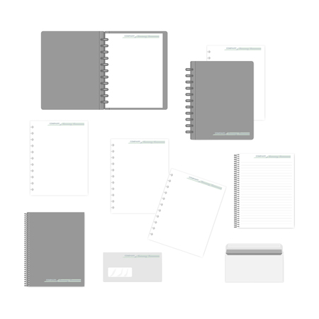 Stationery mockup set for corporate identity design. Spiral and disc bound notebooks, filler paper, envelopes isolated on white background, mock-up Иллюстрация